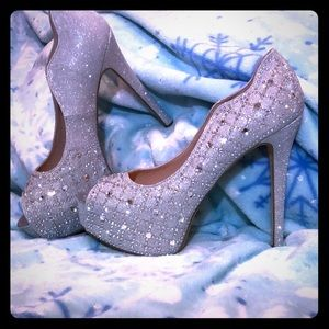Dream Pair 5 & 1/2in Silver Rhinestone Heels